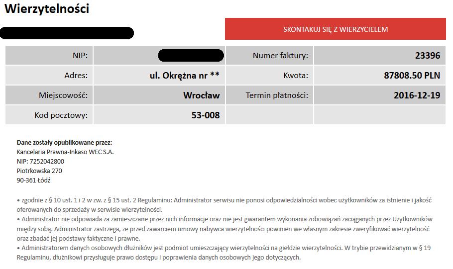 Giełda długów Wrocław