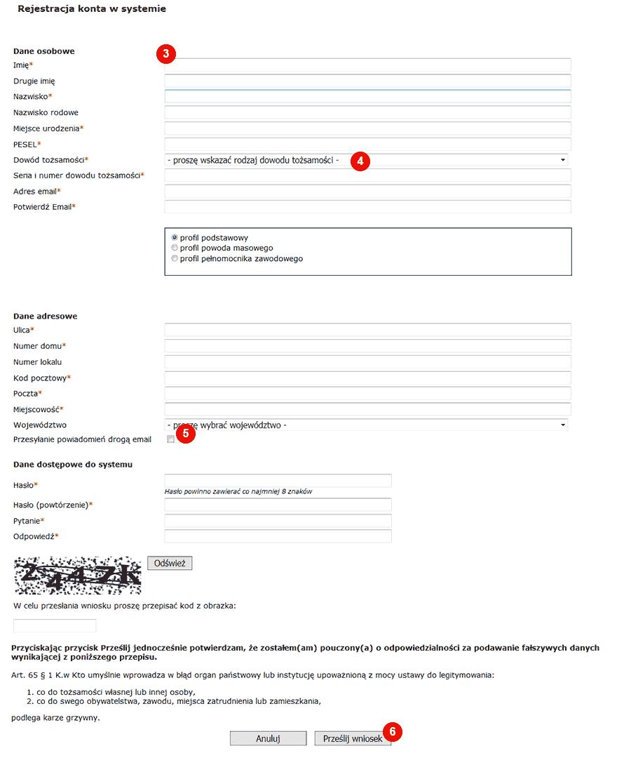 e-sąd formularz rejestracyjny