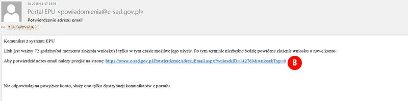 potwierdzenie adresu e-mail w e-sądzie