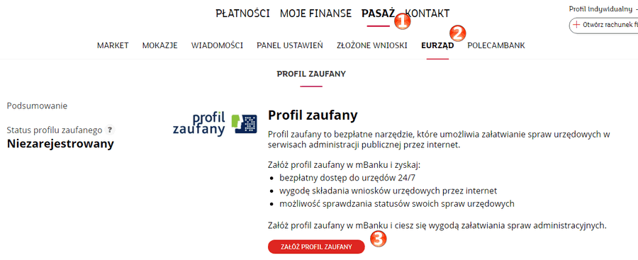 Profil Zaufany w mBanku