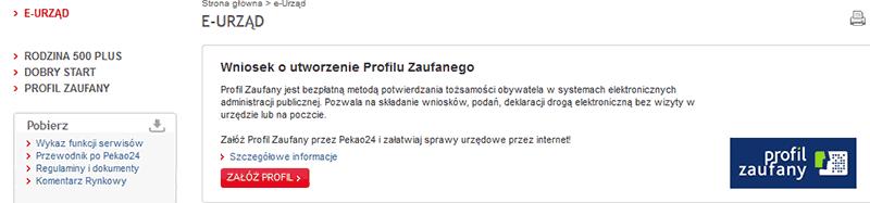 Profil Zaufany w banku PEKAO