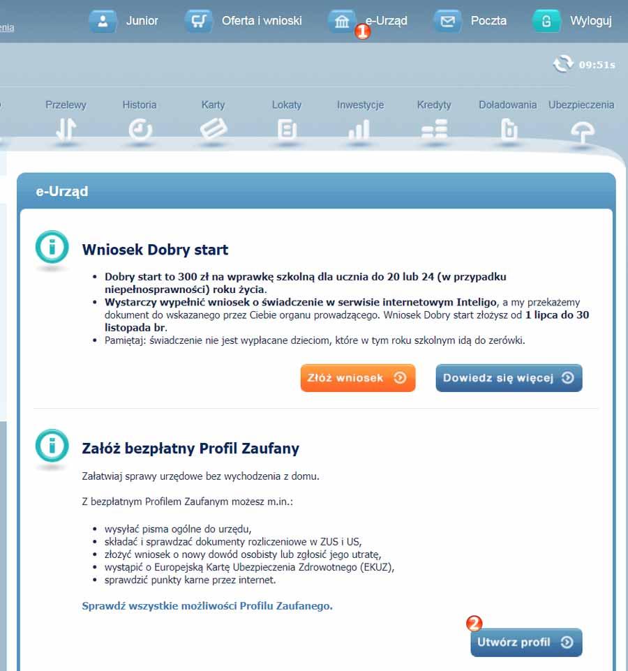 Szybkie tworzenie Profilu Zaufanego w polskim banku Inteligo
