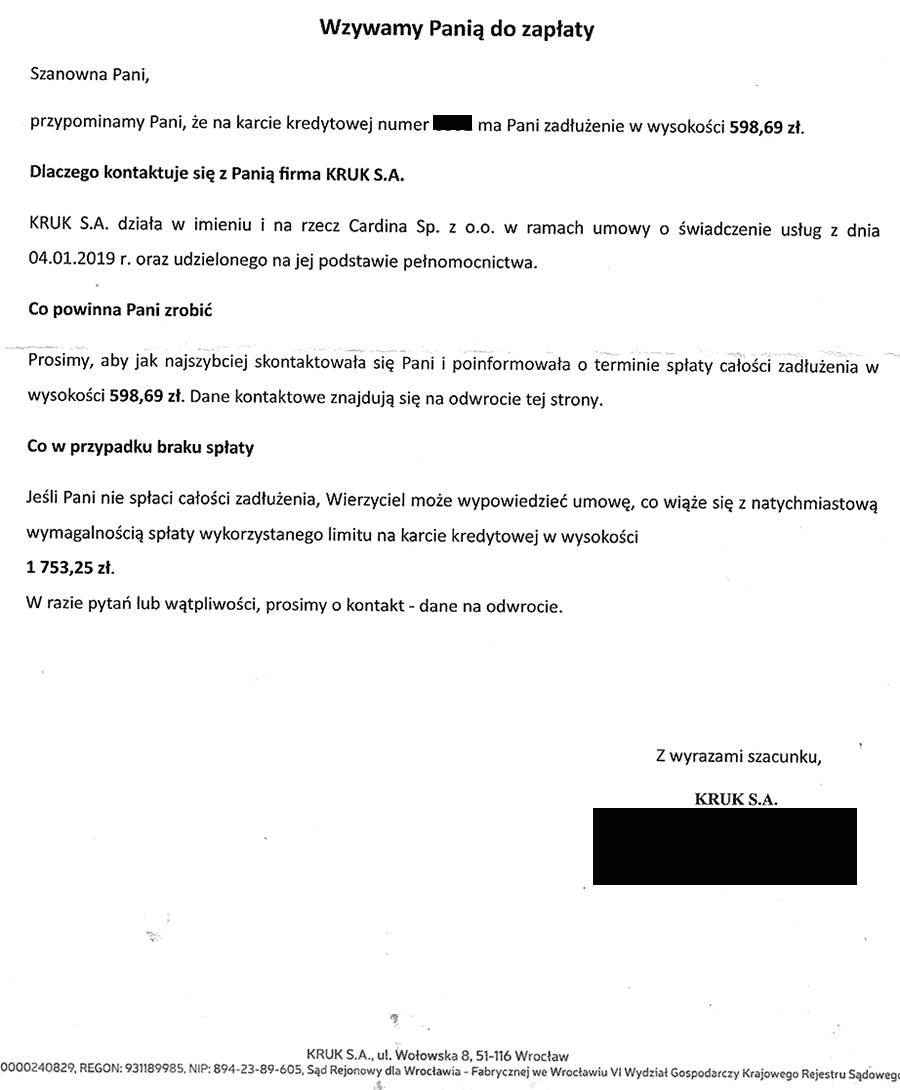 Windykacja Kruka, KRUK wysyła pismo