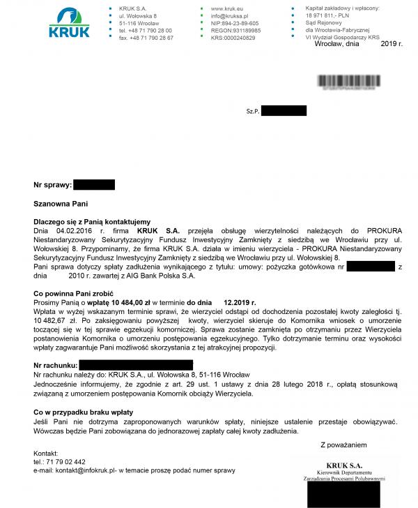 windykacja KRUKA - propozycja rat