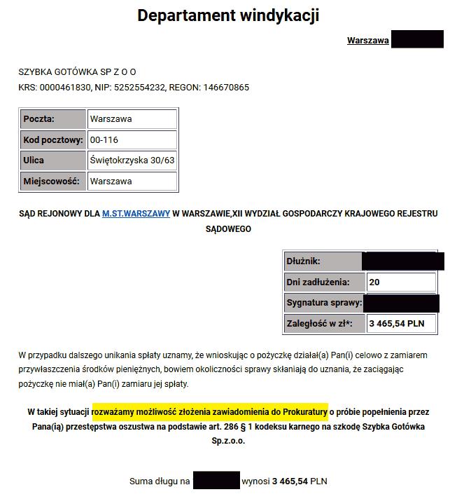 Windykacja Kruka, KRUK vs Szybka Gotówka