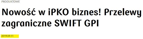 SWIFT GPI - szybkie przelewy międzynarodowe dla firmy