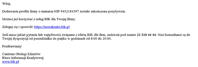 Wiadomośc email potwierdza otwarcie firmowego profilu w BIK