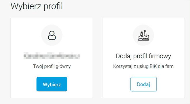 Kafelki wyboru profilu - rejestracja firmy w BIK