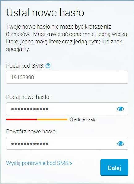 Tworzenie hasła do konta w BIK