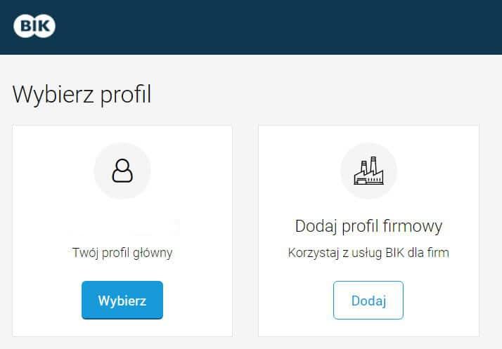 wybór profilu w portalu BIK