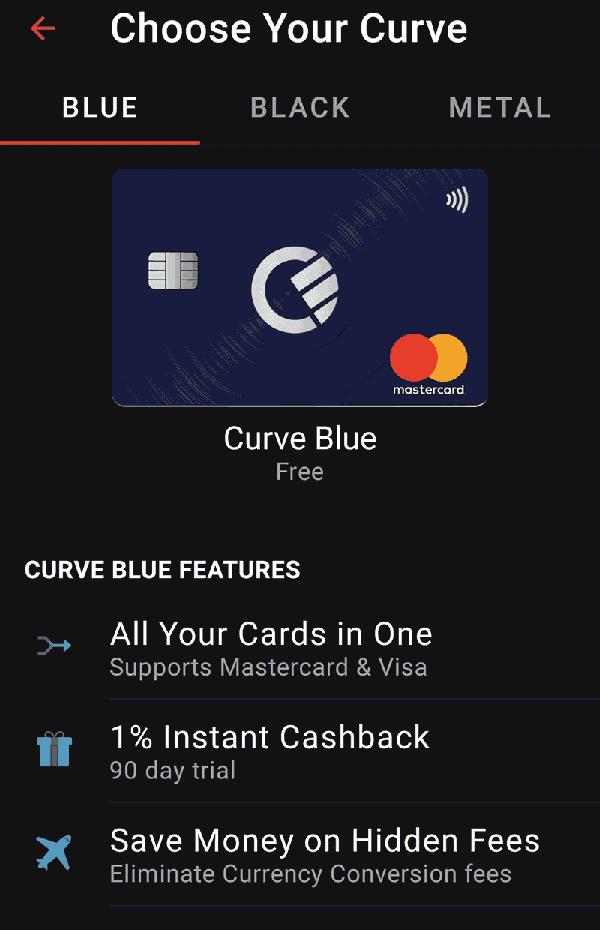 Karta Curve Blue wybierana w trakcie rejestracji konta