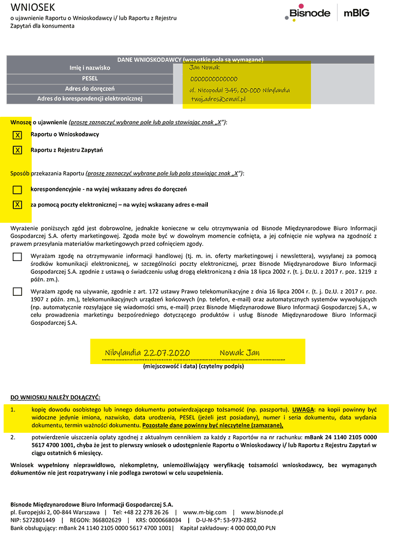 Wniosek o raport z mBIG o sobie