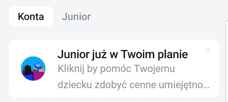 Komunikat informujący o możliwości otwarcia Revolut Junior dl konta Standard