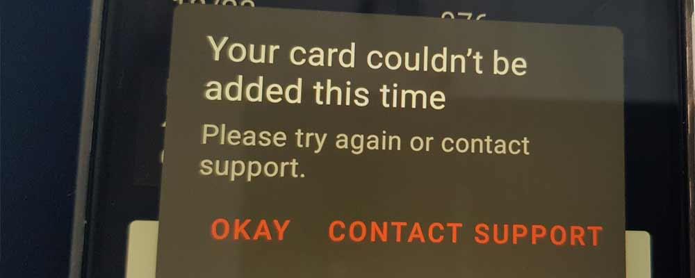 Błąd przy dodawaniu karty Revolut do aplikacji Curve