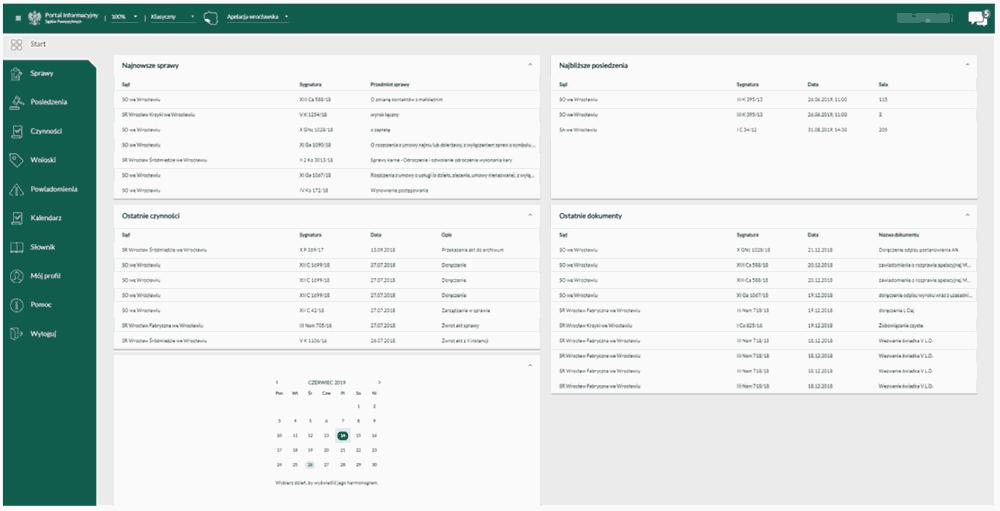 Rozbudowany widok dotyczący spraw sadowych w panelu użytkownika