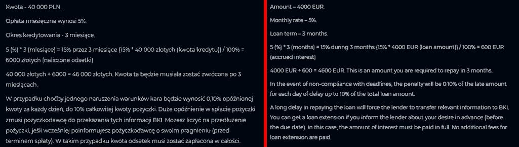Creditron - porównanie polskiego i angielskiego serwisu