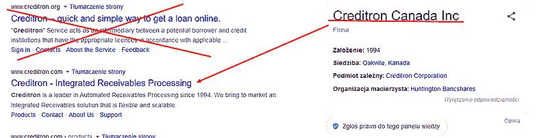 Creditron Canada nie pomyl firm