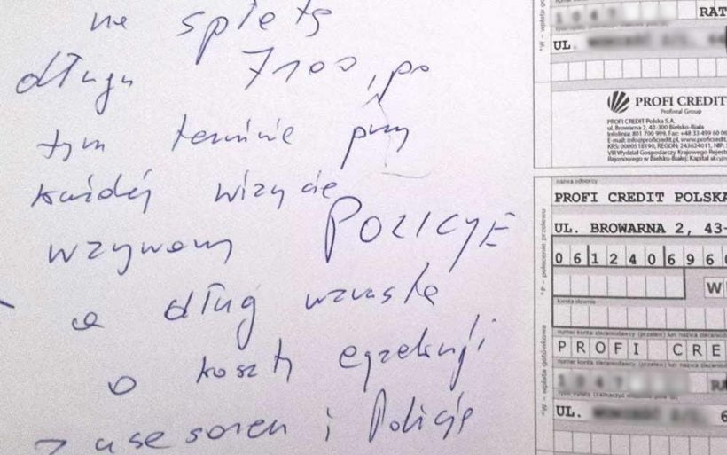 Co pisze windykator terenowy Profi Credit