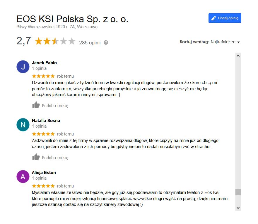 Firmy windykacyjne - opinie o EOS KSI