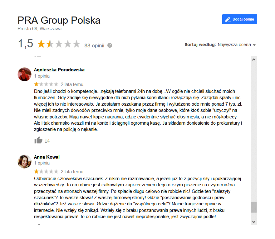pra group windykacja opinie
