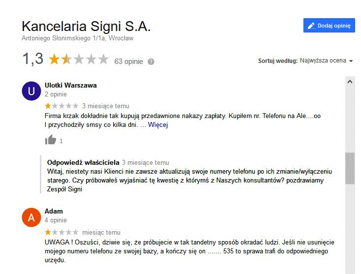 signi wrocław opinie o firmie windykacyjnej