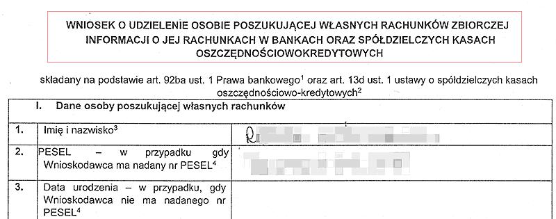 Wniosek do Centralnej Informacji o rachunkach