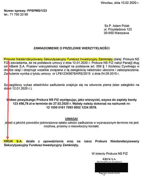 Przelew długu z mBanku do NSFIZ Prokura