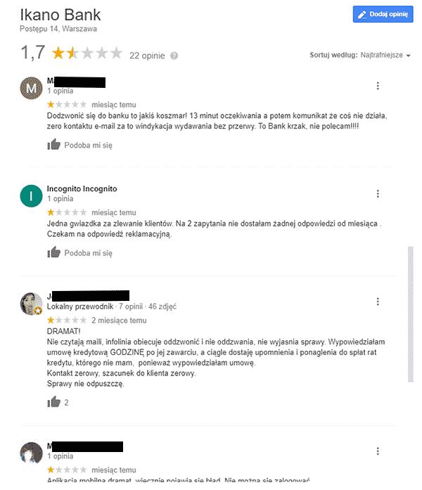 Uważaj na raty w IKEA - opinie z Google