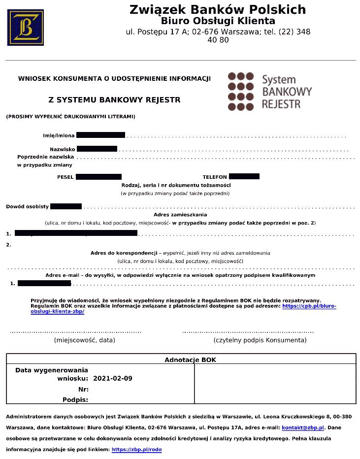 Wniosek o raport z Bankowego Rejestru gotowy do druku