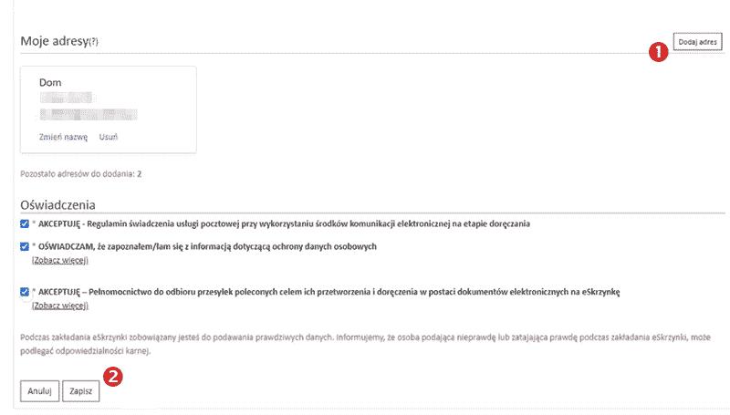 e-skrzynka Poczty Polskiej umożliwia dodanie kilku adresów