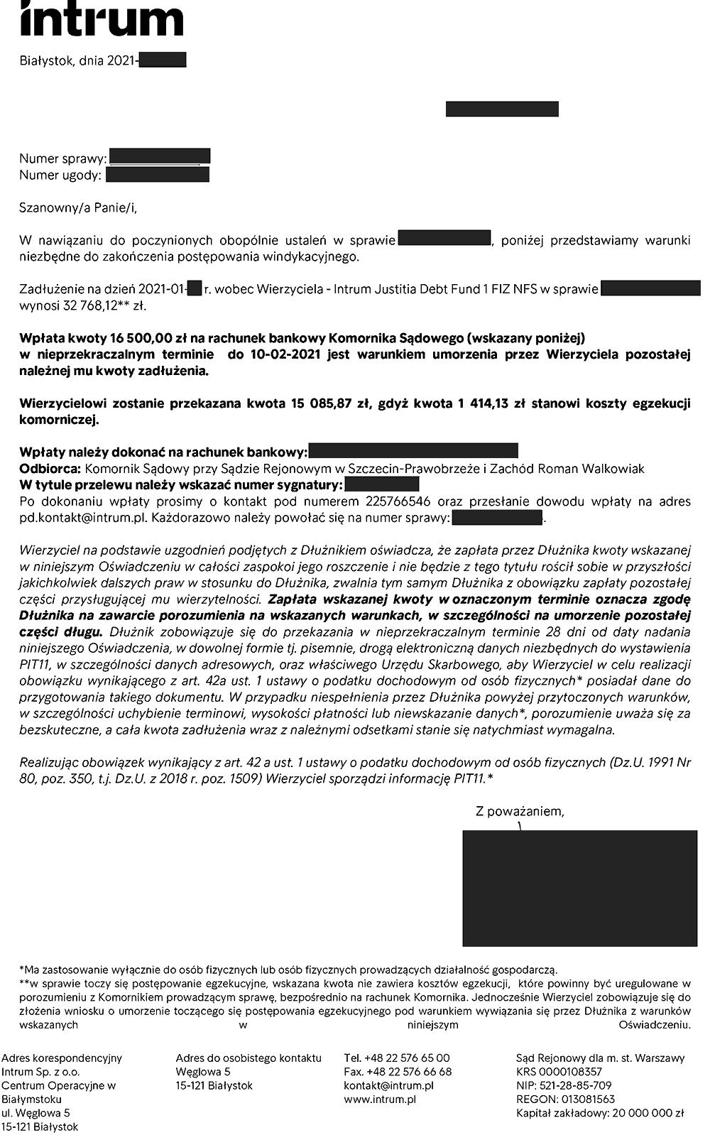 Negocjacje z firmą windykacyjną Intrum - ugoda z wierzycielem