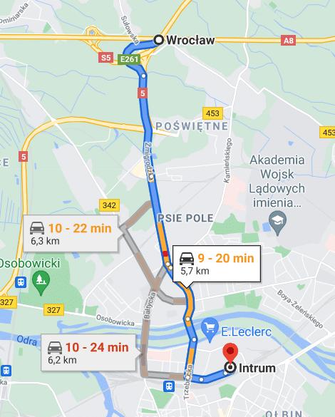 Intrum Wrocław dojazd samochodem