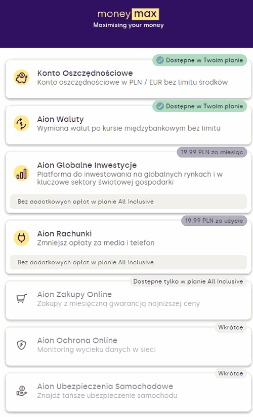 Aion Bank ma długą listę dodatkowych opcji