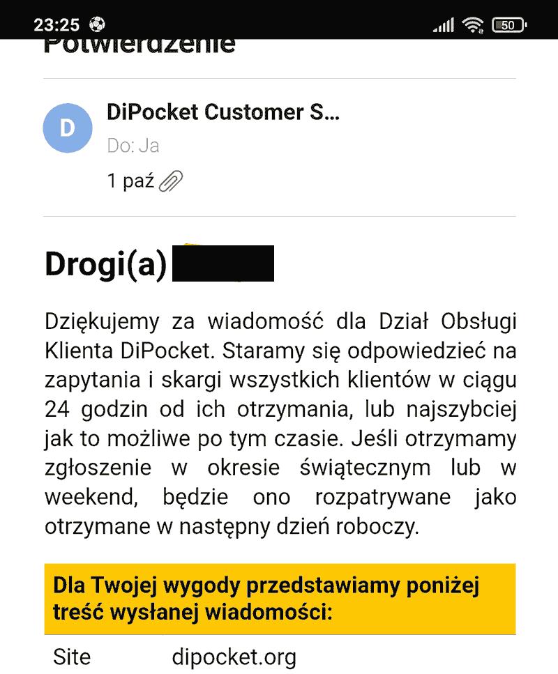 Obsługa klienta Dipocket działa sprawnie